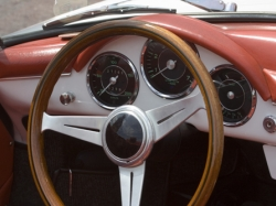 Vintage Porsche - German Car - Dashboard and Wheel Closeup